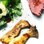 Lauwarmer Rucola-Entenbrust-Kräuterseitling-Salat