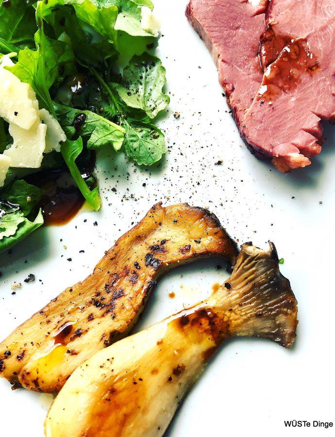 Lauwarmer Rucola-Kräuterseitling-Entenbrust-Salat