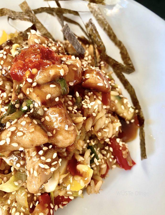 Asia-Reis – Beilage BBQ-Huhn